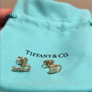 Tiffany 18K rose gold mini lock and key earrings